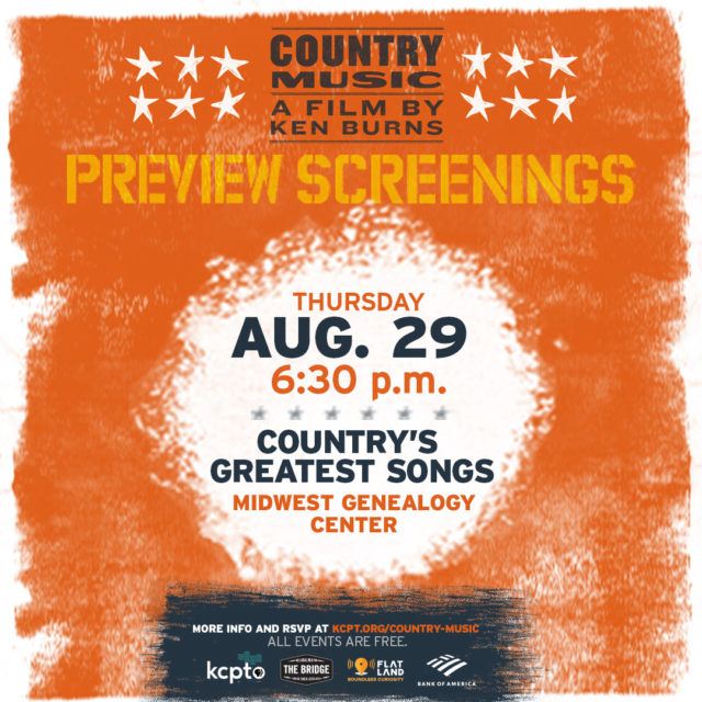 Country's Greatest Songs | Ken Burns' Country Music Sneak Peek and Discussion @ Midwest Geneology Center Community Hall  | Independence | Missouri | United States